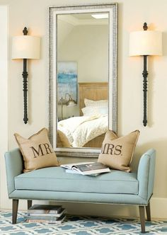 For the Master Bedroom.We love putting an upholstered bench in all of our bedrooms. It makes the space feel extra special! Decoration Hall, Decorations, Master Room, Master Bedrooms, Master Suite, Upholstered Bench, Home Bedroom, Bench In Bedroom, Bench In Living Room