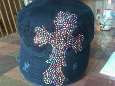 MULTI COLOR STUD CROSS CADET HAT