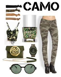 """""""Camo"""" by julissa-hernandez-rios on Polyvore featuring True Religion, Italia Independent, Glam Bands, Dareen Hakim, Nails Inc., Nixon and camostyle"""