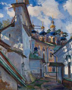 "Art Pics Channel on Twitter: ""Sergei Vinogradov (Russian, 1869-1938),  Cupola of the Uspensky Cathedral of the Pskovo-Pechersky Monastery, 1928. https://t.co/QlHonWG16X"""