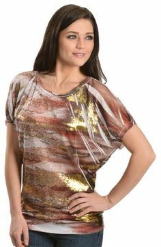 Petrol Striped Metallic Sublimation Print Top - Sheplers