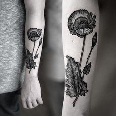 Grey Ink Flower Dotwork Tattoo On Sleeve
