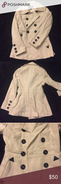 Ivory Miss Sixty Pea Coat Never worn ivory pea coat! It's always been too warm for me to wear it. The buttons and leather detail are black. Fully lined. Miss Sixty Jackets & Coats Pea Coats