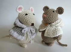 two cute mice, a free pattern, find at http://www.amigurumitogo.com