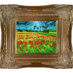 Hand-painted oil reproduction of one of the most famous Van Gogh paintings, Field of Poppies. The original masterpiece was created in 1889. Today it has been carefully recreated detail-by-detail, colo