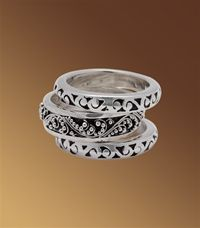 Classic Granulated and Hand Carved Triple Stacked Ring