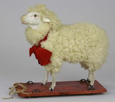 Lamb on a Platform, wool covered lamb.  Repinned by www.mygrowingtraditions.com