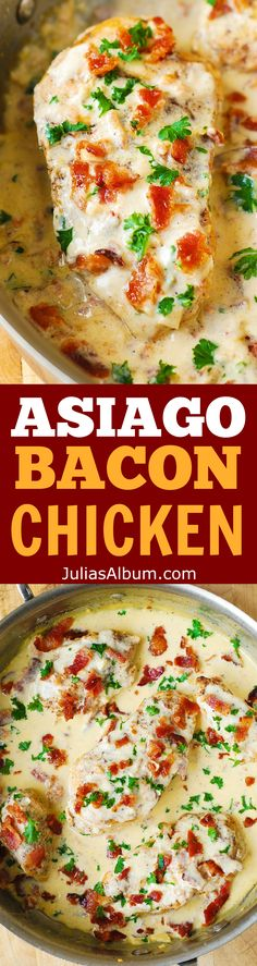 ASIAGO CHEESE Chicken with lemon, garlic, bacon cream sauce.  Tender, super moist chicken breasts! (chicken breast recipes, easy dinners)
