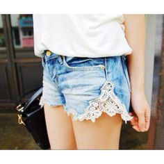 DIY. If jean shorts are too tight, cut the sides and sew on lace!
