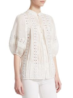 Zimmermann Embroidered Cotton Flower Cut-Out Top - Ivory 0 Fashion 2020, Diy Fashion, Fashion Outfits, Womens Fashion, Fashion Design, Pretty Outfits, Beautiful Outfits, Organza Dress, Linen Blouse