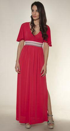 coral maxi dress elbano