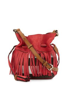 Check Canvas Fringe-Trim Bucket Bag, Windsor Red by Burberry at Neiman Marcus.