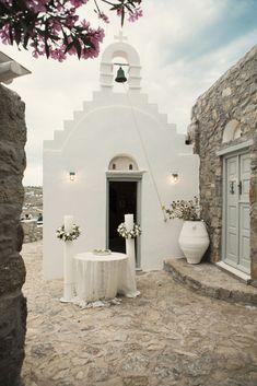 Wedding Ceremony Altar in Mykonos, Greece by Anna Roussos Santorini Wedding, Greece Wedding, Destination Voyage, Destination Wedding, Greek Wedding Traditions, Grecian Wedding, Rustic Wedding, Wedding Ceremony, Wedding Venues