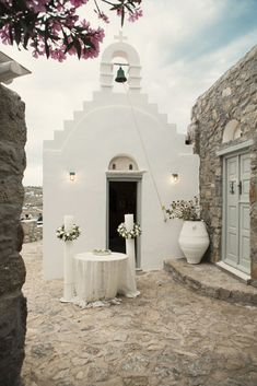 Wedding Ceremony Altar in Mykonos, Greece by Anna Roussos   Two Bright Lights :: Blog