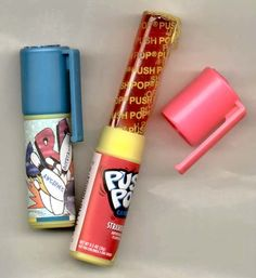 Push Pops - Loved these. Now they come with a spring. Whats the purpose of calling it a push pop? I remember haven't to push it up with my finger and it getting all wet in there lol