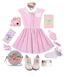 """""""B. Outfit #8 ddlg pastel pink"""" by brokenbabydolly ❤ liked on Polyvore featuring Topshop, H&M, Olympia Le-Tan, Cotton Candy and ddlg"""