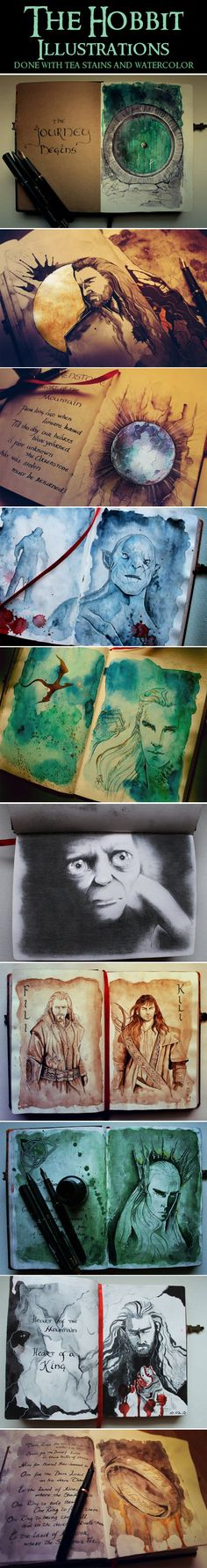The Hobbit Illustrations…  If anyone knows who drew this, PLEASE let me know - I want to link back to them because this is AWESOME! It's so good, it's hurts to look at them.