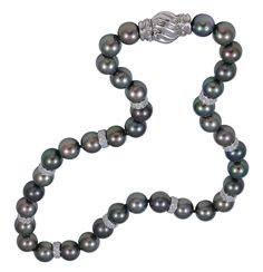 Black South Sea Pearl Necklace with Diamonds | From a unique collection of vintage beaded necklaces at http://www.1stdibs.com/jewelry/necklaces/beaded-necklaces/