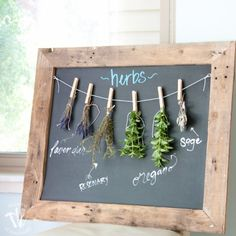 Rustic Chalkboard Herb Drying Rack