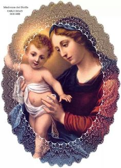 ~J Madonna and child Jesus. Jesus Mother, Blessed Mother Mary, Blessed Virgin Mary, Baby Jesus, Queen Mother, Religious Pictures, Religious Icons, Religious Art, Image Jesus