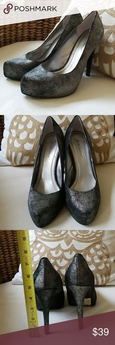 BCBGeneration sz 9  high black / metallic silver These need to be out having fun not in my closet! BCBGeneration high heels sz 9  high black / metallic silver Bought on sale  with not noticeable small scuff on bottom and forgot about. NWT BCBGeneration Shoes
