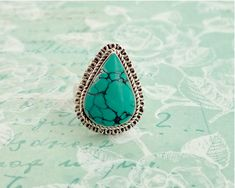 Sterling silver turquoise ring with large tear drop shaped stone, 8 grams, size N / by CardCurios on Etsy Turquoise Color, Turquoise Stone, Black Thread, Vintage Rings, Sterling Silver Rings, Gemstone Rings, Drop, Fancy, Shapes