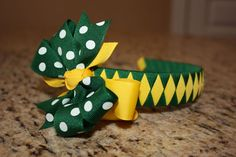 Baylor Bears (ORRRRRR GREEN BAY PACKERS!) Woven Headband with Matching Detachable Bow. $10.00, via Etsy.