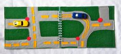Felt dinky car road map, perfect companion for in the car. Think Christmas drive!
