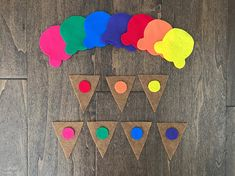 With this rainbow felt ice cream cone color matching busy bag, your busy little(s) can learn colors, matching, and much more! This busy bag features 7 different color ice cream tops with cones to match (red, pink, orange, yellow, green, blue, and purple). TEACHES Color Recognition