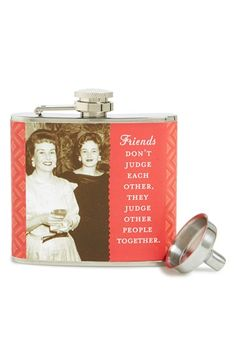 Shannon Martin Girl Designer 'Friends Don't Judge' Stainless Steel Flask available at #Nordstrom
