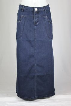 Navy Charm Long Jean Skirt, Sizes 6-18: theskirtoutlet.com
