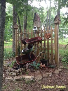 Repurposed wheelbarrow water fountain