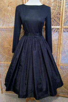 Vintage 1960s Party Dress-Twirl-Rockabilly-Goth-Steampunk-Caron Petite