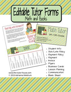 Editable Tutor Forms {Math and Books}. Get your tutor business off to a professional start! Come see what's all included. Tutoring Flyer, Tutoring Business, Online Tutoring, Business Education, Teaching Kids, Teaching Resources, English Tuition, Learn Math Online, Job Info
