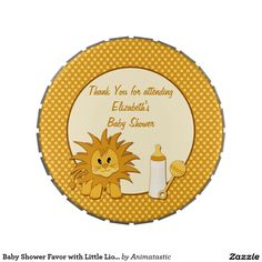 Baby Shower Favor with Little Lion Cub Cartoon Jelly Belly Candy Tins