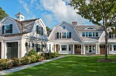 Browse the exterior and interior images of the award winning home, Chatham Gambr. - Browse the exterior and interior images of the award winning home, Chatham Gambrel located in Chatham on Cape Cod, MA Cape Cod Exterior, Dutch Colonial Homes, Shingle Style Homes, Gambrel Roof, Villa, New England Homes, Modern Farmhouse Exterior, Dream House Exterior, House Roof