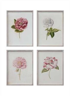 18L x 24H Wood Framed Vintage Reproduction of Wall Décor w/ Flower Image, 4 Styles