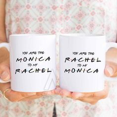 """best friend cups """"you are the monica to my rachel"""" christmas gifts, friends tv show, f.r.i.e.n.d.s, friends tv show mug, bff mugs MU295 by InstantGoodVibes on Etsy https://www.etsy.com/uk/listing/471825385/best-friend-cups-you-are-the-monica-to"""