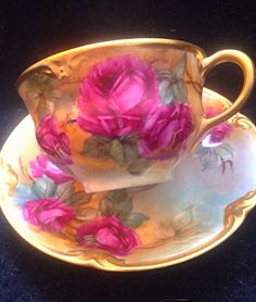 Limoges Handpainted Signed, Roses Tea Cup and Saucer - Stunning!