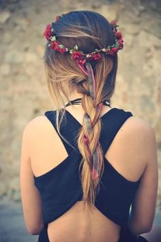 Single braid & flowers in her hair - red flower crown