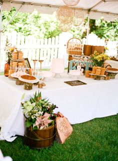 Reception area - dessert table; we'd need to rent all the platters, the crates, a table, etc.