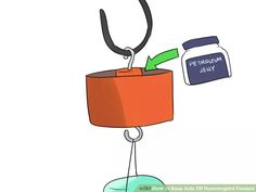 Keep ants and bees off hummingbird feeders: Make a moat with Vaseline as seen above. To deter bees and wasps, soak a Q-tip with vegetable oil and brush it on feeder holes. The oily surface will prevent insects from landing there.