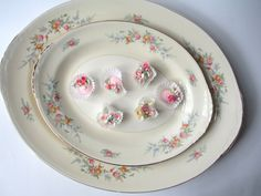 Vintage Homer Laughlin Ferndale Floral Serving by thechinagirl