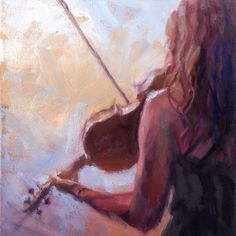 Christopher Clark, fine artist, Violinist, Sweet Violin, original music oil painting by