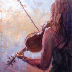 Christopher Clark, fine artist, Violinist, Sweet Violin, original music oil painting by