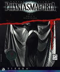 """The cover art with """"Roberta Williams"""" on the top, """"Phantasmagoria"""" underneath with tagline """"Pray it's only a nightmare"""". A statue is seen at the bottom half of the cover art. Games Box, Old Games, Scary Games, Horror Themes, Gaming Station, Video Game Collection, Age Of Empires, Retro Videos, Motion Video"""