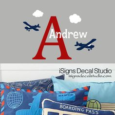 Airplane Wall Decal - Custom Name Decal - Airplane Name Decal - Airplane Decals - Vinyl Wall Decals - Initial Name Decal by iSignsDecalStudio on Etsy https://www.etsy.com/listing/191395136/airplane-wall-decal-custom-name-decal