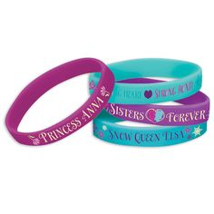Disney Frozen Rubber Bracelets Includes: (4) assorted rubber bracelets, our choice please. This is an officially licensed Disney product. Weight (lbs) 0.06 Length (inches) 7 Width (inches) 4.5 Height(