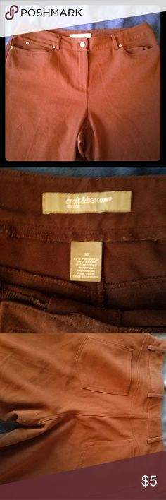 Chocolate brown pants Cute pants but a couple of issues. Please see photos. Pilling in the crotch area and one of the hems has come loose. croft & barrow Pants Trousers
