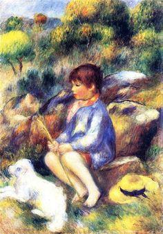 artist-renoir: Young Boy by the River via Pierre-Auguste. Pierre Auguste Renoir, Edouard Manet, Claude Monet, The River, August Renoir, Renoir Paintings, Oil Paintings, Georges Seurat, Impressionist Artists